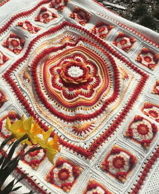 Pippin Poppycock - Floralia Blanket CAL - Vivian Colourway in Stylecraft Special DK