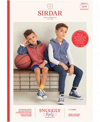 Sirdar 2534 Boys Gilets in Snuggly Replay