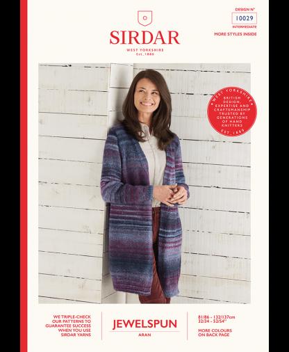 Sirdar 10029 Long Line Jacket in Sirdar Jewelspun