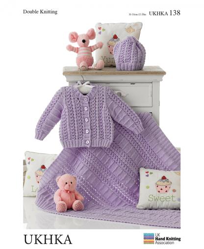 UK Hand Knit Assoc - Double Knit Hat, Cardigan and Blanket (UKHKA 138)