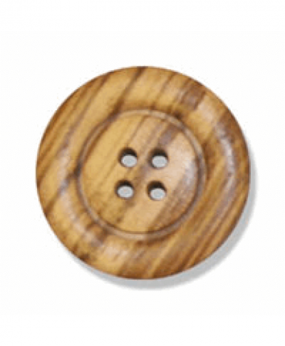 Round Olive Wood Button - 4 Hole - Size 36 (23mm) (G203836)