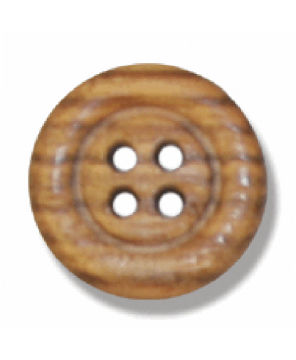 Round Olive Wood Button - 4 Hole - Size 24 (15mm) (G203824)