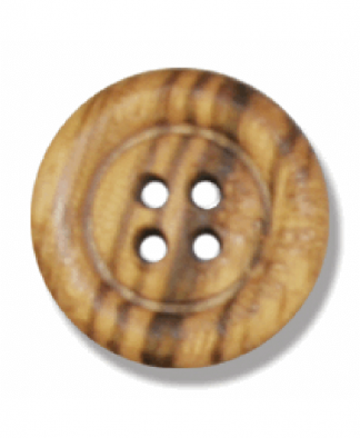 Round Olive Wood Button - 4 Hole - Size 28 (18mm) (G203828)