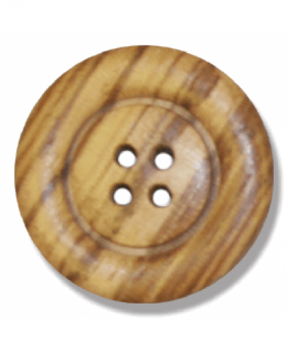 Round Olive Wood Button - 4 Hole - Size 40 (25mm) (G203840)