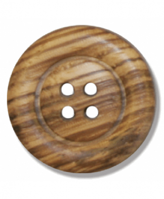 Round Olive Wood Button - 4 Hole - Size 45 (28mm) (G203845)