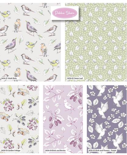 Craft Cotton Co - Debbie Shore - Garden Birds - Fat Quarters