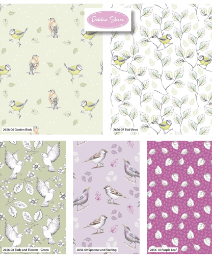 Craft Cotton Co - Debbie Shore - Garden Birds - Multi - Fat Quarters
