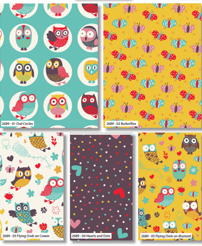 Craft Cotton Co - Happy Owls - Fat Quarters