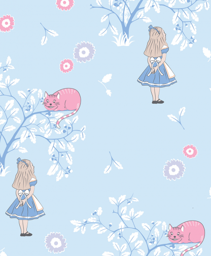 Craft Cotton Co - The V&A Alice in Wonderland Fabric Collection - Cheshire Cat