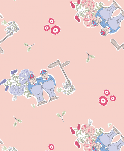Craft Cotton Co - The V&A Alice in Wonderland Fabric Collection - Tweedle Dee & Tweedle Dum