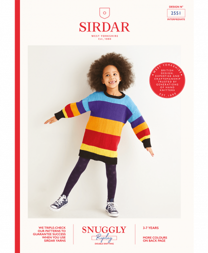 Sirdar_2551_Kids Striped_Colorblock_Dress_in_Snuggly_Replay_DK