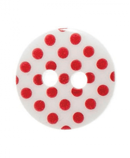 Round Spot Button Size 20 (12mm) - White - Red Spots (51)