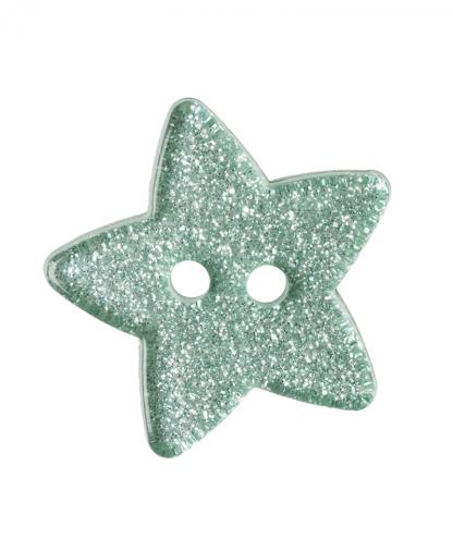 Glitter Star Button - 28 Lignes (18mm) - Green (21)