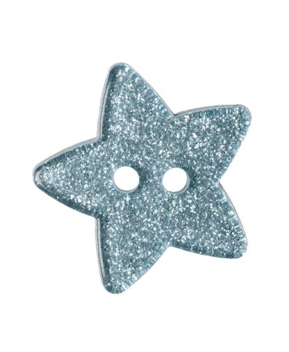 Glitter Star Button - 28 Lignes (18mm) - Light Blue (15)