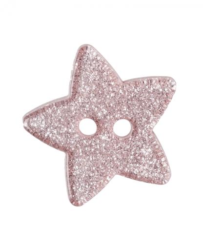 Glitter Star Button - 28 Lignes (18mm) - Light Pink (6)