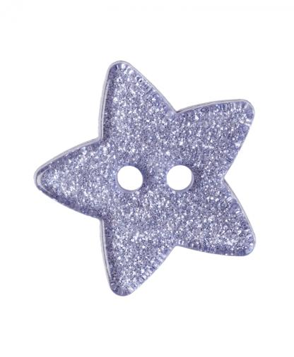 Glitter Star Button - 28 Lignes (18mm) - Lilac (11)