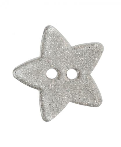 Glitter Star Button - 28 Lignes (18mm) - Silver (80)