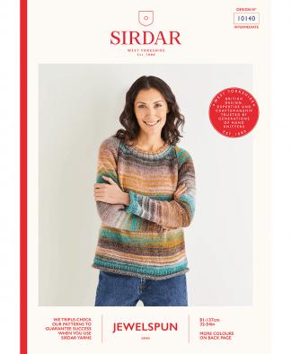 Sirdar 10140 Crew Neck Raglan Sweater in Sirdar Jewelspun