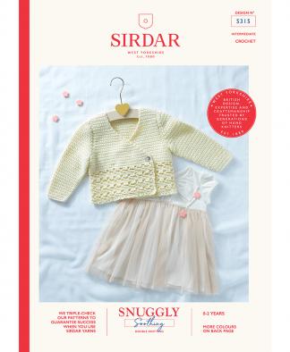 Sirdar 5315 Baby Girl's Crochet Cardigan in Snuggly Soothing