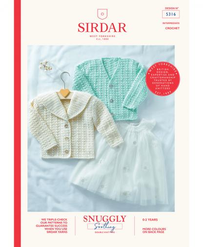Sirdar 5316 Baby Crochet Cardigan in Snuggly Soothing