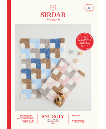 Sirdar 5397 Mitred Square Blanket in Snuggly Snowflake Chunky