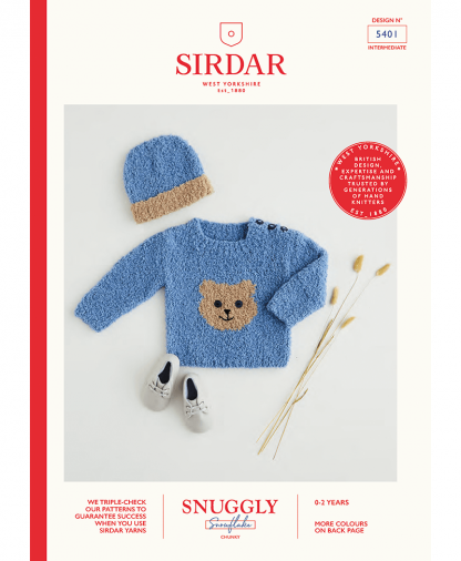 Sirdar 5401 Teddy Bear Sweater & Hat in Snuggly Snowflake Chunky