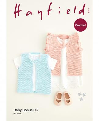 Sirdar 5417 Crochet Gilets in Hayfield Baby Bonus DK