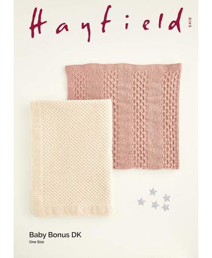 Sirdar 5419 Star Stitch Blankets in Hayfield Baby Bonus DK