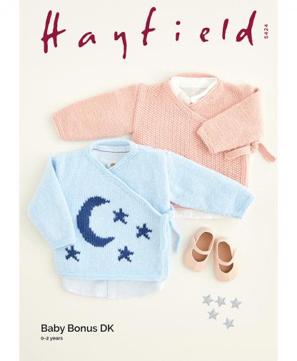 Sirdar 5424 Moon & Star Wrap Tops in Hayfield Baby Bonus DK