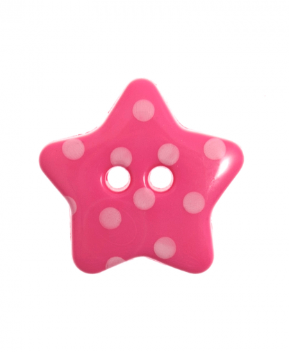 Spotty Star Button - 28 Lignes (18mm) - Bright Pink (7)
