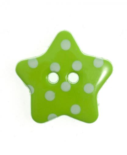 Spotty Star Button - 28 Lignes (18mm) - Green (21)