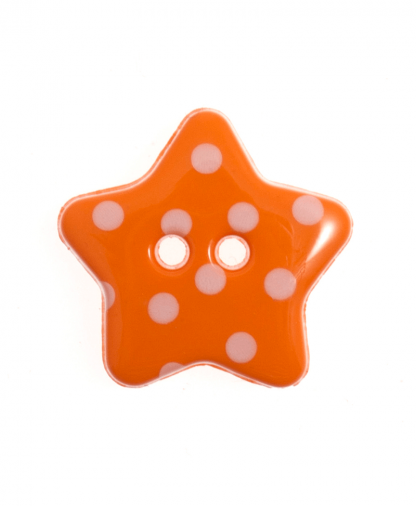 Spotty Star Button - 28 Lignes (18mm) - Orange (9)