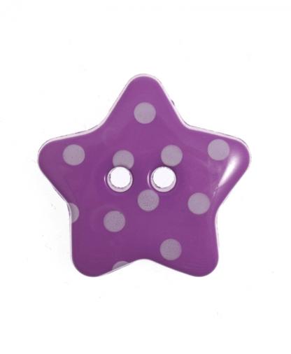 Spotty Star Button - 28 Lignes (18mm) - Purple (14)