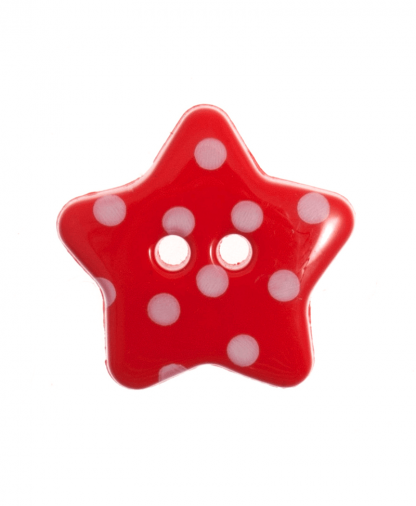 Spotty Star Button - 28 Lignes (18mm) - Red (8)