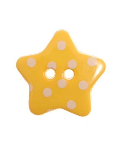 Spotty Star Button - 28 Lignes (18mm) - Yellow (3)