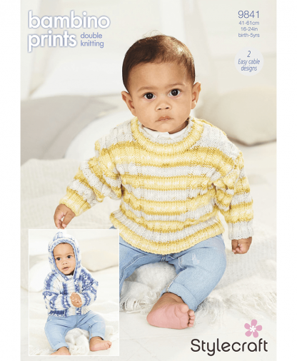Stylecraft 9841 Cardigan and Sweater in Bambino Prints DK (Leaflet)