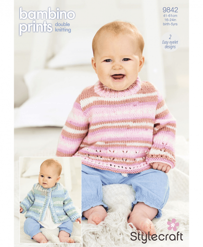 Stylecraft 9842 Cardigan and Sweater in Bambino Prints DK (Leaflet)
