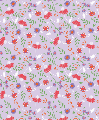The Craft Cotton Co - Cute Floral Fabric Collection - Lilac (2644-01)