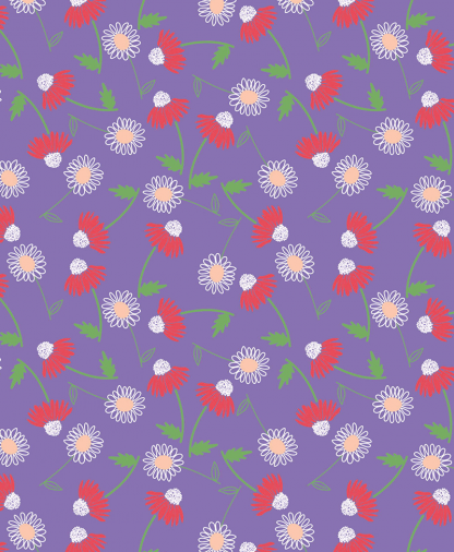 The Craft Cotton Co - Cute Floral Fabric Collection - Purple (2644-04)
