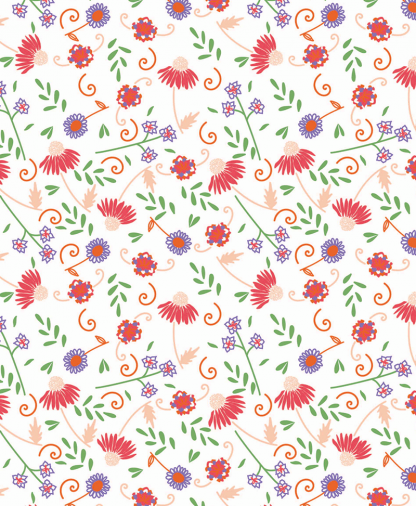The Craft Cotton Co - Cute Floral Fabric Collection - White (2644-05)