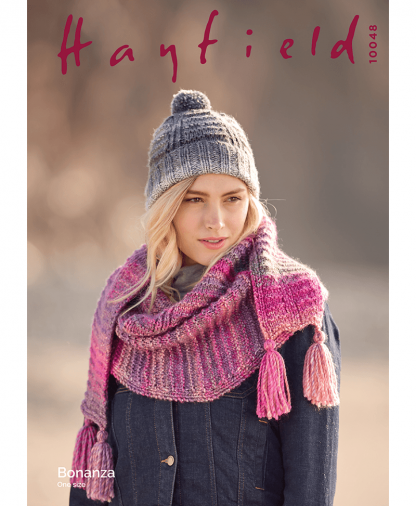Sirdar 10048 Textured Hat and Scarf in Hayfield Bonanza Chunky