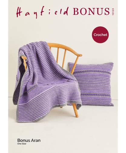 Sirdar 10123 Crochet Moss Stitch Blanket and Cushion in Bonus Aran