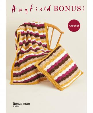Sirdar 10124 Crochet Wave Blanket and Cushion in Bonus Aran