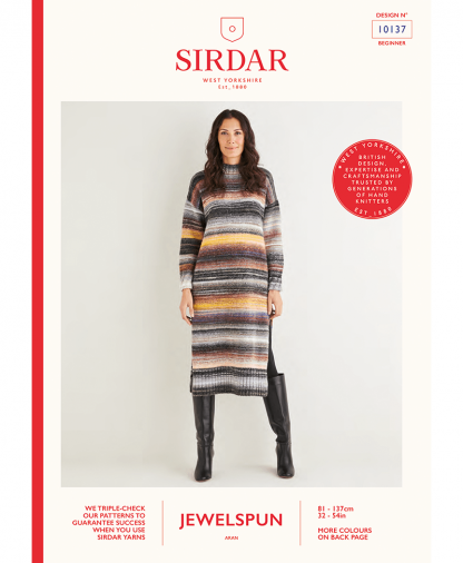 Sirdar 10137 Womens Funnel Neck Tunic Dress in Sirdar Jewelspun