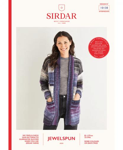 Sirdar 10138 Womens Wide Rib Longline Cardigan in Sirdar Jewelspun