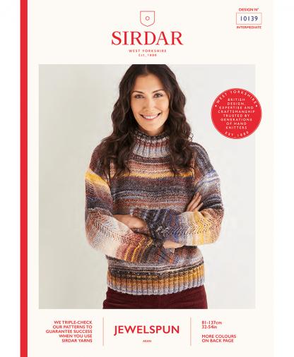 Sirdar 10139 Womens Roll Neck Sweater in Sirdar Jewelspun