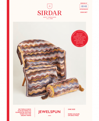 Sirdar 10143 Crochet Wave Blanket and Bolster Cushion in Sirdar Jewelspun