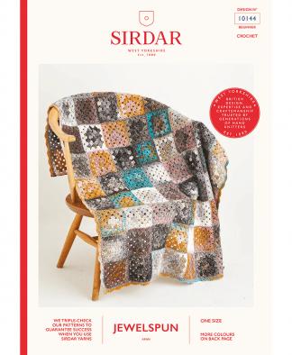 Sirdar 10144 Crochet Granny Square Blanket and Bolster Cushion in Sirdar Jewelspun