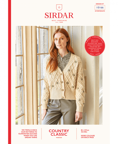 Sirdar 10166 Womens Embroidered Lattice Cable Cardigan in Sirdar Country Classic Worsted