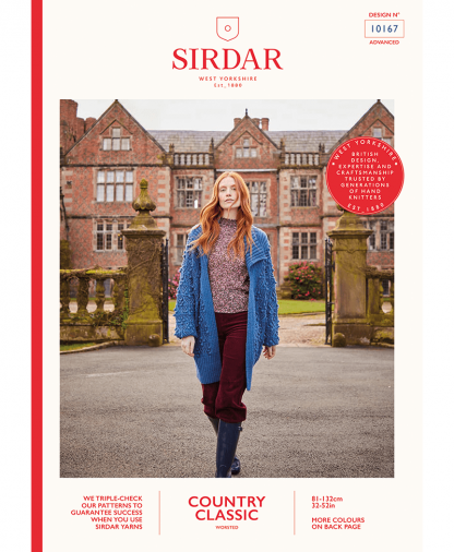 Sirdar 10167 Womens Longline Textured Bobble Detail Cardigan in Sirdar Country Classic Worsted